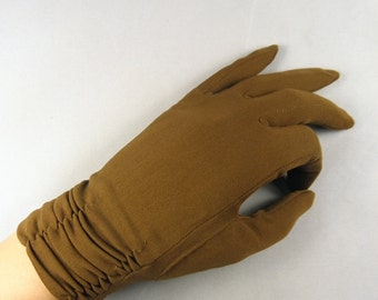Vintage 1950s - 60s Chocolate Brown, Ruched Gloves - Wrist Length - Ladies