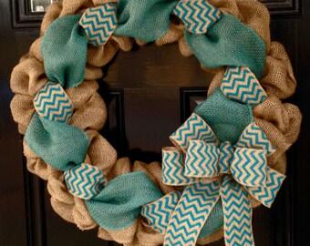 Teal Chevron Burlap Wreath 22 inch front door or accent - outdoor / indoor