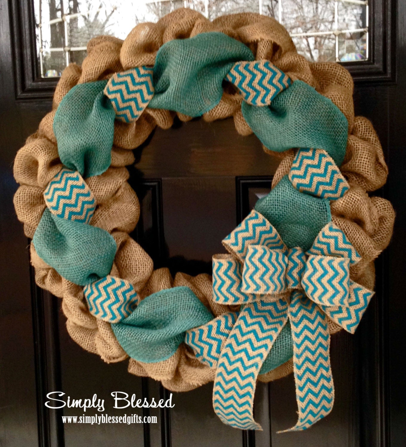Teal chevron burlap wreath 22 inch front door or accent for How to use burlap ribbon