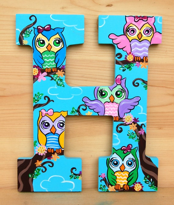 cute owls hand painted wooden letters price is per letter read all info