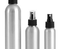 4 oz. Aluminum Bottles with Black Fine Mist Sprayers/Caps, Set of 4