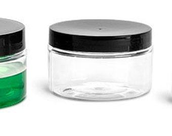 8 oz. PET Clear Jars with Black Lid Perfect for Creams, Srubs, Lotions, Set of 4