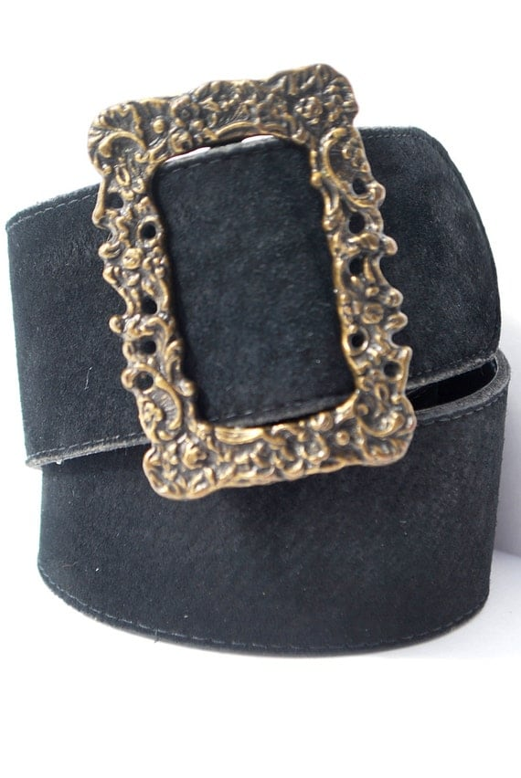 Vintage Black Suede Leather Belt Gold Ornate Victorian Buckle