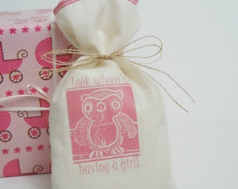 Baby Shower Favor Bags, Muslin Bag, Owl, Fabric Bag, 5 x 8, Pink, Girl