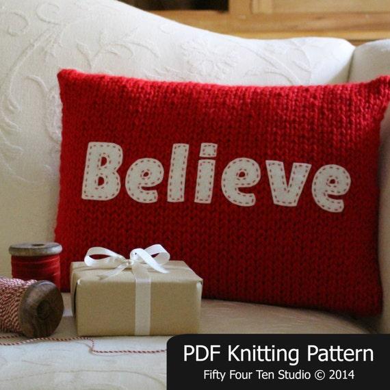 Knitting Pattern Christmas Cushion : Christmas KNITTING PATTERN / Believe / Joy / Pillow / Cushion / Quick Knit / ...