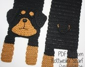 Crochet PATTERN - Rottweiler Scarf / Dog Breed Scarf, Puppy Scarf, Dog Scarf, Neck Warmer - PATTERN ONLY