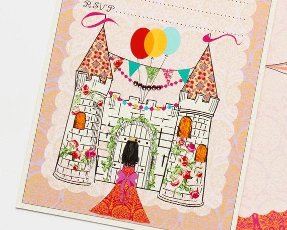 Digtial Castle Invitation. Fill-In Invitation Set