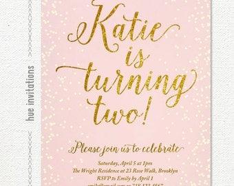 2nd birthday invitation for girl, blush pink gold glitter girls 2nd birthday party invite, chic confetti printable digital invitation s107
