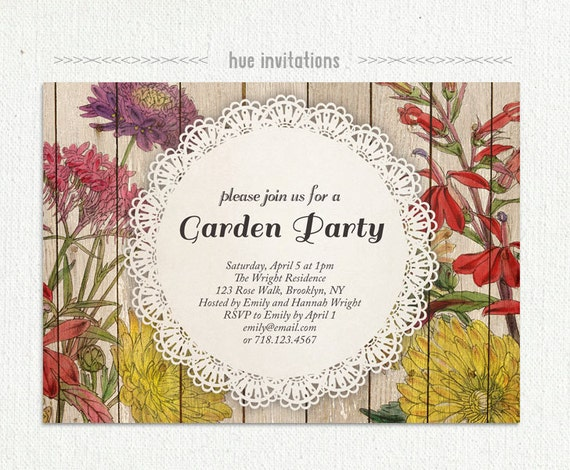 floral garden party invitation autumn fall party invite. Black Bedroom Furniture Sets. Home Design Ideas