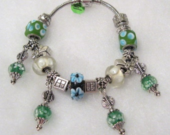 461 - CLEARANCE - Blue and Green Bracelet