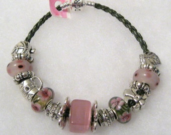 350 - CLEARANCE - Pink and Brown Beaded Bracelet