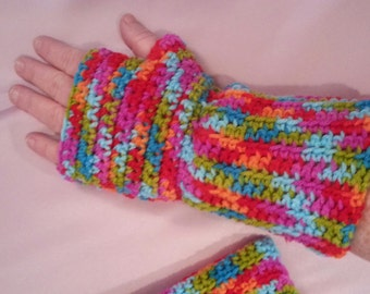 Bright Multi-Colored Fingerless GlovesWrist Warmers - Size L/XL - Handmade
