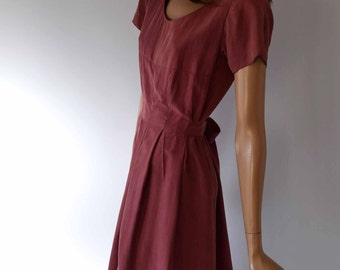 Perfectly Pink Vintage 1980s Silk Back Button Thru Belted Empire Line Dress
