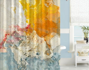 Abstract Art Shower Curtain Contemporary Bathroom Decor In Blue Orange And White