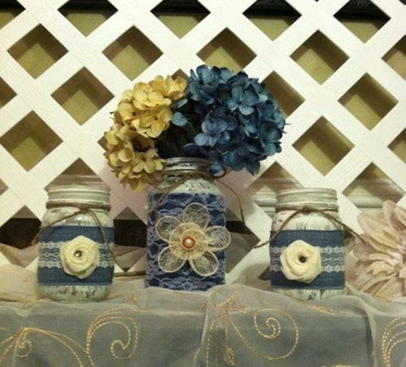 Home decor rustic mason jars denim and lace mason jars for Denim centerpieces