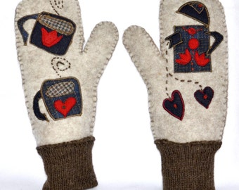 Coffee-For-Two Felted Bison-Wool Mittens