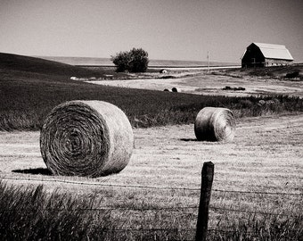 Hay Bales and Barn Photograph, Rural Country Landscape, Black and White Photography, Fine Art Photograph for Your Home and Office Wall Decor