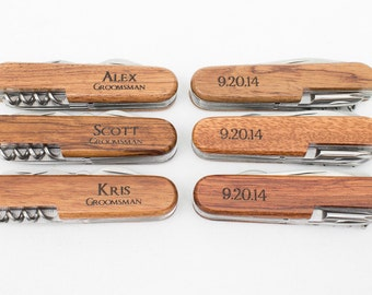 Ring Bearer Gift, 5 Engraved Pocket Knifes, Personalized Groomsmen Gift, Personalized Wedding Favor, Knife