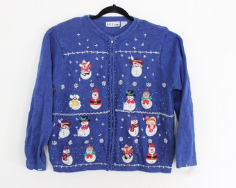 Ugly Christmas Sweater with 14 SNOWMEN  XL 491