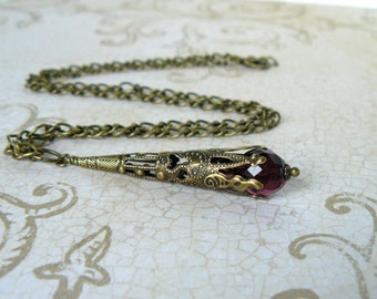 Amethyst Necklace Dark Plum Victorian Inspired Pendant Necklace Purple Vintage Style Jewelry Long Antique Brass Filigree