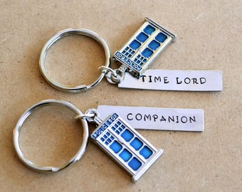 Doctor Who Time Lord & Companion Matching Keychain Set with optional Blue TARDIS Police Box Charms - Birthday Gift or Present for Whovian