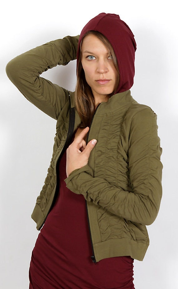Mrs Peacock Ruched Women's Jacket in Olive for Womens Spring Fashion Festival Wear Wholesale
