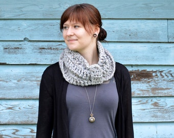 Chunky Bow Styled Cowl from Rustic Tweed Wool