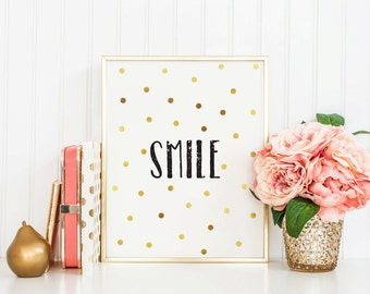 SMILE - Instant Download - 8x10 - 11x14 - Printable Art - White - Dots - Faux Gold - Minimalist - Typography- Home Decor