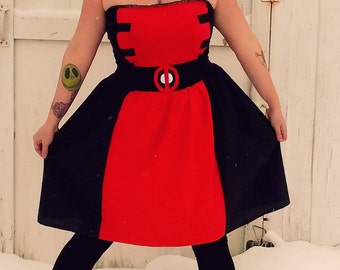 Lady Deadpool inspired dress Cosplay Costume Halloween womens AND plus size custom handmade