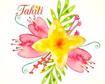 Digital Watercolours clipart  Hand Drawn. Tahiti. Romantic wedding bouquet . Bright red, yellow, orange flowers blog, cards, invitations