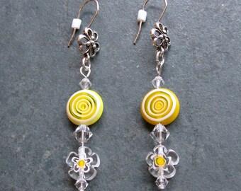 Yellow Daisy Swirl Glass Earrings