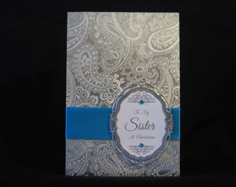 Sister Embossed Silver Swirl Card (Winter Collection)