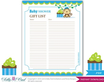 Items similar to boy prince guest gift list guest sign in sheet boy monkey guest gift list guest sign in sheet card for baby shower birthday negle