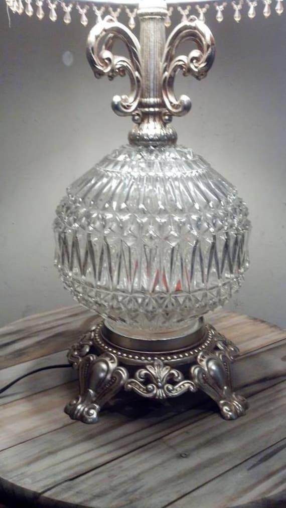 Vintage Regency Table Lamp Crystal Globe Lamp With 3 Way
