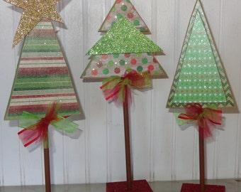 Christmas Decor, Christmas tree,Wood Christmas Trees set of 3