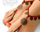 Barefoot Sandal, Crochet Hippie Shoes, Yoga, Oriental, Bellydance
