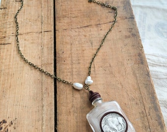 Kechewaishke - Long Vintage Bottle Necklace with Leather Wrap, Buffalo Nickels, and Pearls - Repurposed Found Objects Necklace