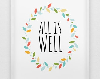 all is well print // positive thinking print // pastel colours home decor print // inspirational print // leafy wreath decoration print