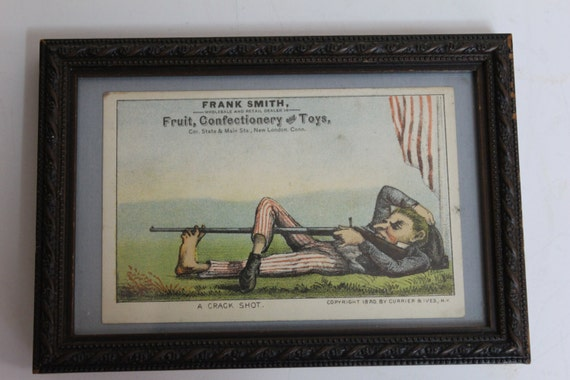 Rare 1880 The Crack Shot Currier and Ives Trade Advertising Card