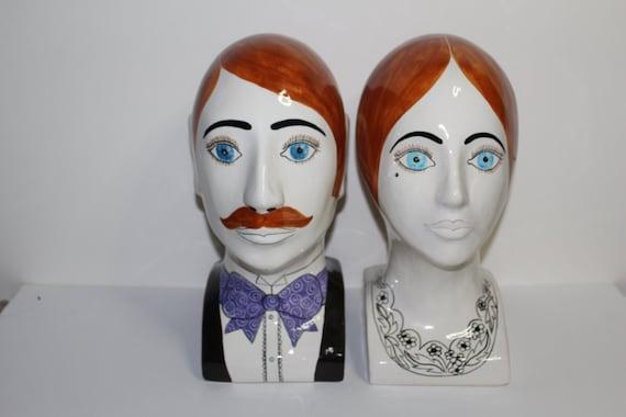 Pair Hand Painted Porcelain Art Deco Head Sculptures England