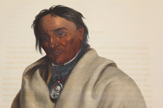 1836 Original Folio McKenney and Hall of Meta Koosega Metakoosega Chippeway Warrior
