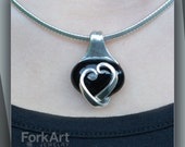 Fork heart pendant with Onyx Cabochon