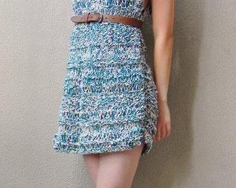Handknit, Sleeveless Dress, Dress, Summer Dress, Boho Dress, Multicolour, Cotton Dress, Woman, Green, Pink, Cotton