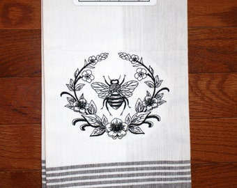 napoleonic bee kitchen towel ~ bee kitchen towel ~ bee with flowers ~ bee decor ~ bee collector