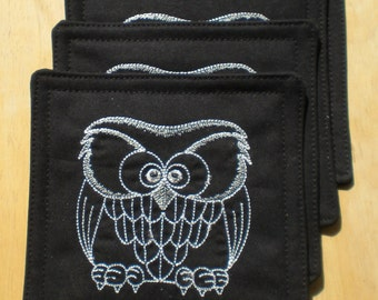 Coasters with Embroidered Fat Owl