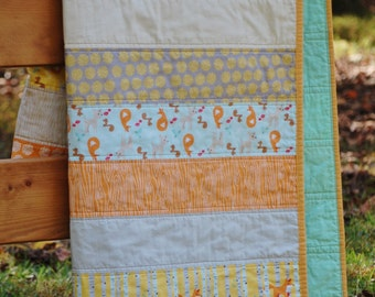 Woodland Creatures Gender Neutral Baby, Crib, or Toddler Quilt featuring Good Natured by Marin Sutton for Rilley Blake