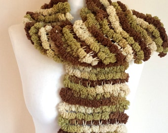 Hand Knitted green shaded Scarf, Knit scarf wrap,  wool blend Scarf, Shawl, Wrap, Neckwarmer, men's knit scarf, women's knit scarf