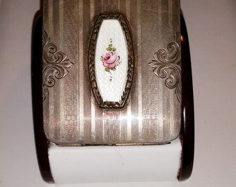 Vintage Guilloche Enameled Sterling Silver Compact 1930s with Money Holder and Removable Lipstick