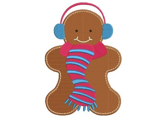 Ginger Bread Man with scarf Filled Machine Embroidery Digitized Design ...