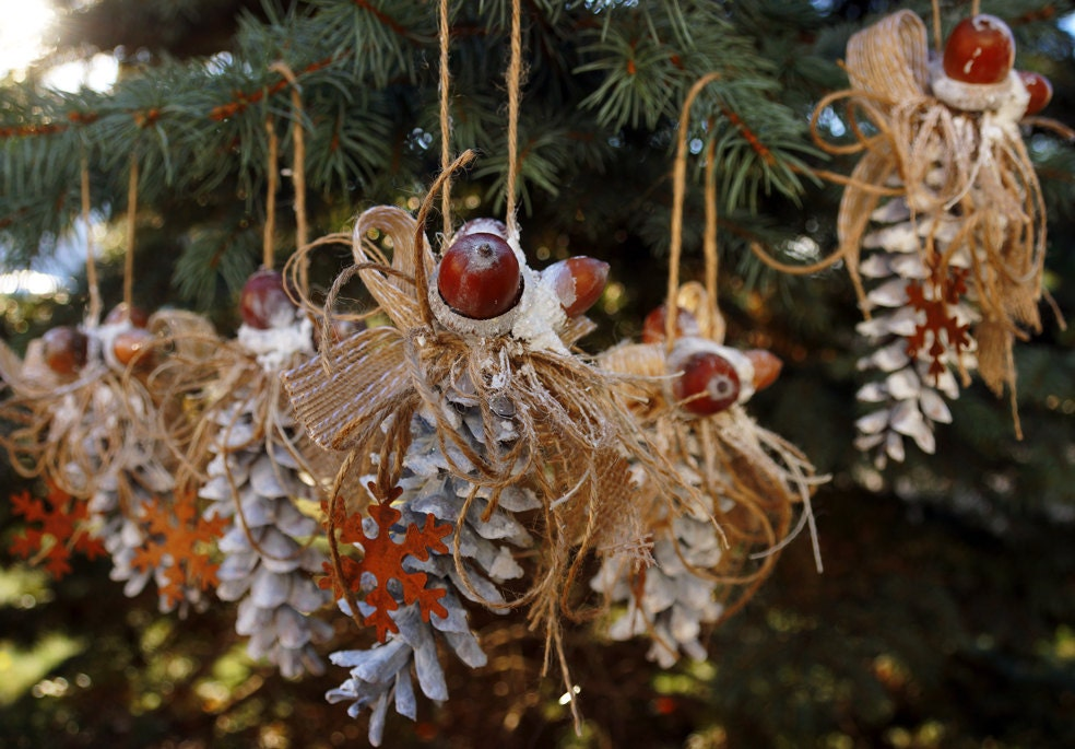 Pine Cone Christmas Ornament Rustic Set 5 By LaivaArt On Etsy
